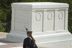 Unknown soldier monument in Arlington Cemetery Washington DC with the honor guard