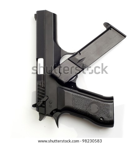 Unloaded gun isolated on white background