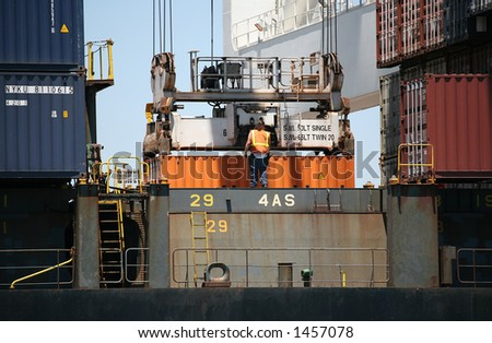 Unloading crates at the port