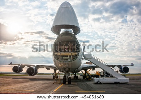 Unloading wide-body cargo airplane
