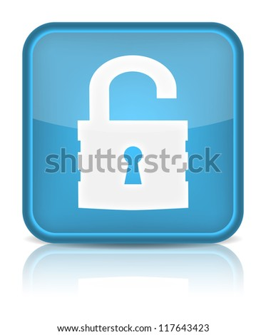 Unlock icon. Sign with reflection isolated on white. (Raster version)