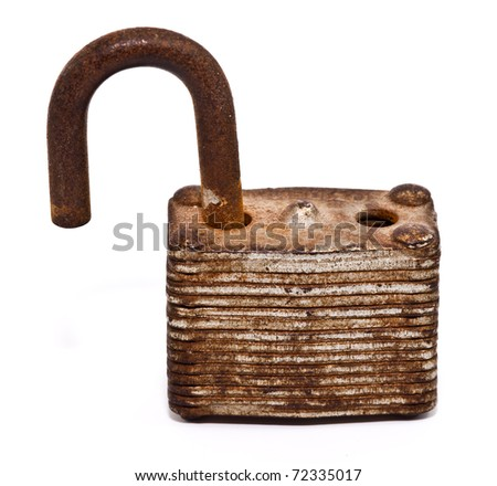 unlock old lock isolated on white background