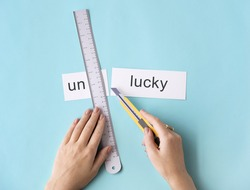 Unlucky Unfortunately Hands Cut Word Split Concept