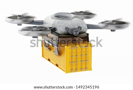 Unmanned drone carrying cargo container. 3D illustration.