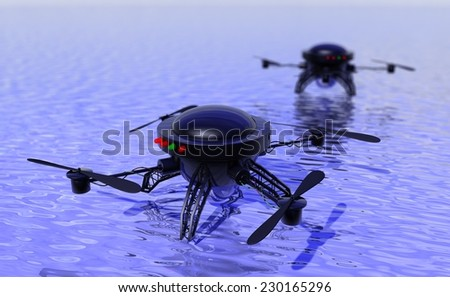 Unmanned drone copter searching for survivors