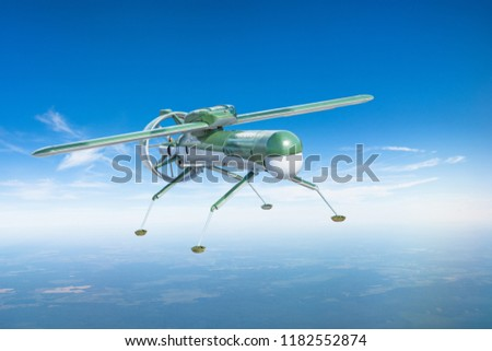Unmanned military drone aircraft with landing legs on patrol air territory at altitude