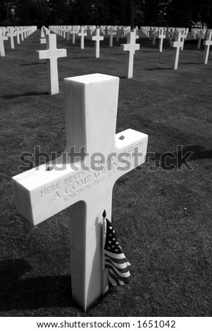 Unmarked grave, American Cemetery, Omaha Beach, Normandy, France