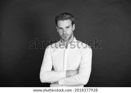 Unmarried man. Bachelor dark background. Single guy in classic style. Confident bachelor. Classy bachelor party. Mens style and fashion. November 11. Singles day. Bachelor and a bit of chaser Foto stock ©
