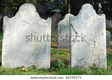 Unnamed tombstones at an old cemetery at St. Paul's Church in Lower Manhattan New York City.