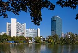 UNO City, IZD-Tower, Donaucity, Wien, Oesterreich - UNO City, IZD-Tower, Vienna, Austria
