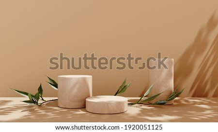 Unobtrusive background with plant and shadow on the wall -3D render. Empty showcase, podium, stand for advertising and product presentation. Mock up for exhibitions objects, relaxation and health.