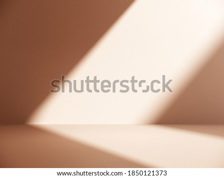 Unobtrusive background with shadow on the wall - 3D render. Premium podium, stand on pastel light background. Mock up for exhibitions, presentation of products, therapy, relaxation and health.