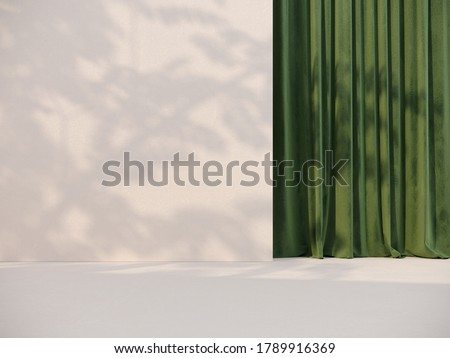 Unobtrusive botanical background with shadow on the wall - trend frame, cover, card, postcard. Exhibition Podium, stand, showcase on pastel light background for premium product  -3D render.  stock photo