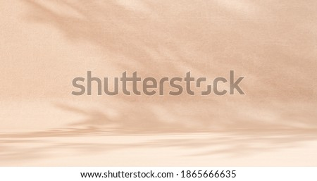 Unobtrusive botanical background with shadow on the wall - trend frame, cover, card, postcard. Exhibition Podium, stand, showcase on pastel light background for premium product  -3D render.  Foto d'archivio ©