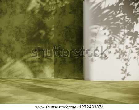 Unobtrusive botanical background with shadow on the wall - trend frame, cover, card, postcard. Exhibition Podium, stand, showcase on pastel light background for premium product  -3D render.