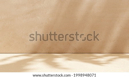 Unobtrusive botanical background with shadow on the wall - trend frame, cover, card, postcard. Exhibition Podium, stand, on pastel light аrchitectural background for premium product  -3D render.