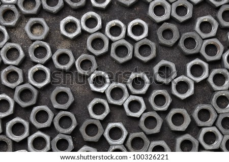Unordered set of chrome nuts