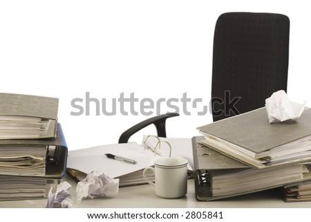 Unorganized desktop isolated on white