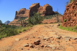 Unpaved Off-Road Vehicle Path up in the Mountains of Sedona, Arizona USA