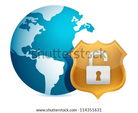 Unprotected security concept illustration design over white