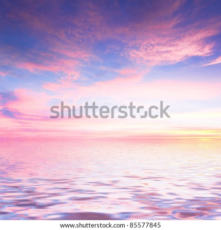 Unreal Background Over Water - stock photo