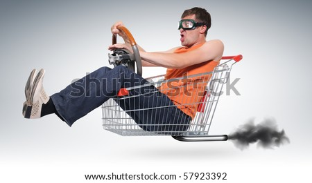 Unreal crazy driver in a shopping-cart with wheel