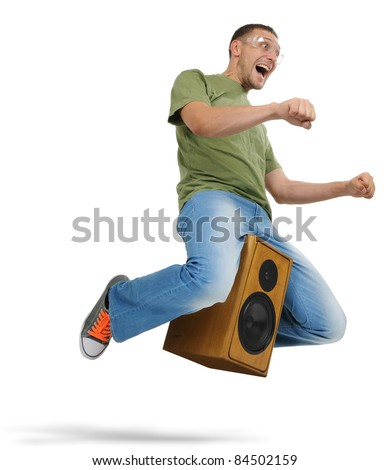 Unreal flying man in goggles sitting on a speaker on white background, motorcycle stylize concept