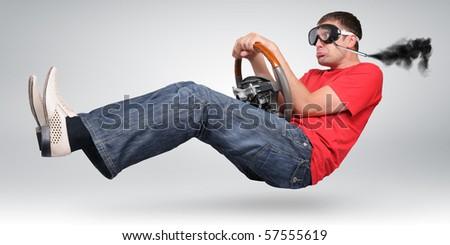 Unreal funny driver in goggles