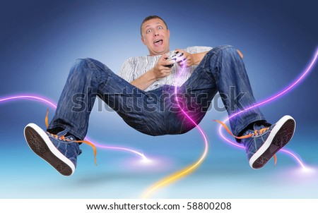 Unreal gamer with gamepad, color electric discharge around