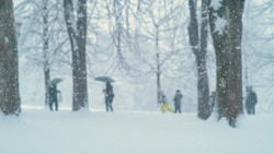 Unrecognizable adults and children are having fun in the beautiful wintry park during a snowstorm. A flurry of fluffy white snowflakes engulfs a busy public park during the winter covid19 lockdown.