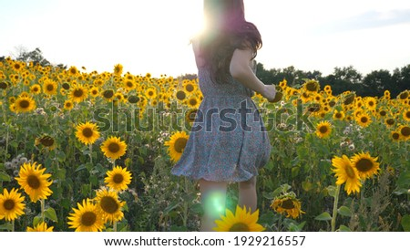 Unrecognizable brunette running through yellow sunflower field. Woman in dress having fun jogging through meadow at sunny day. Beautiful summer landscape on background. Happiness and freedom concept. ストックフォト ©