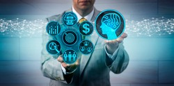 Unrecognizable business manager scaling up sales and marketing via artificial intelligence app. B2B technology concept for machine and deep learning, AI, complex IT ecosystem, lead generation.