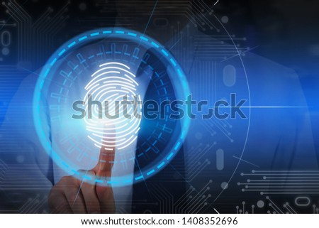 Unrecognizable businessman in white shirt using fingerprint identification scan. Concept of authentication and online security. Toned image double exposure #1408352696