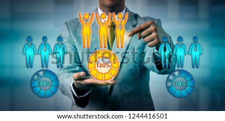 Unrecognizable corporate human resources manager choosing the only work team performing at one hundred percent among three groups. HR concept for performance review, teamwork, success, achievement.