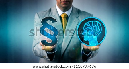 Unrecognizable corporate mediator is confronting an artificial intelligence system with the law and regulations. Business technology concept for legal framework of data capture via machine learning.