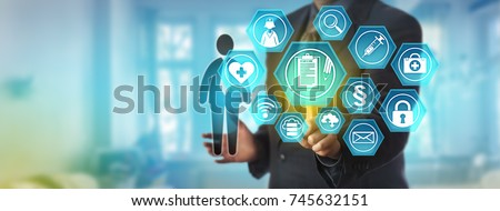 Unrecognizable data administrator accessing a patient personal health record. Information technology and healthcare concept for electronic medical reporting system, remote access to health records.