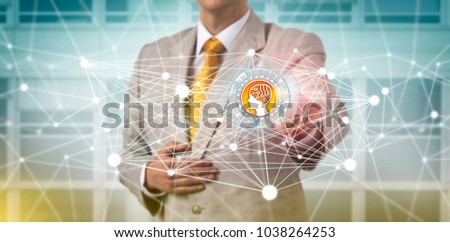 Unrecognizable enterprise executive is accessing an AI app in a communications network. Concept for computer science, deep and machine learning, artificial intelligence, master data management. Foto d'archivio ©