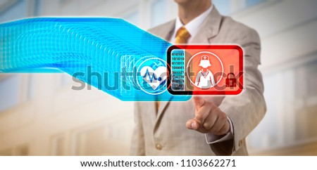 Unrecognizable healthcare manager accessing the most recent record block in a medical blockchain. Healthcare insurance IT concept for data management via distributed virtual ledger technology, DLT. #1103662271