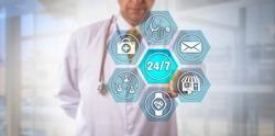 Unrecognizable internet-savvy physician touching virtual 24/7 button on remote care interface. Healthcare and technology concept for patient-centric telemedicine, all day all night health e-service.