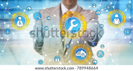 Unrecognizable male corporate manager is activating managed services via touch screen interface. Enterprise computing concept for outsourced IT management, technical support and cloud computing. #789948664