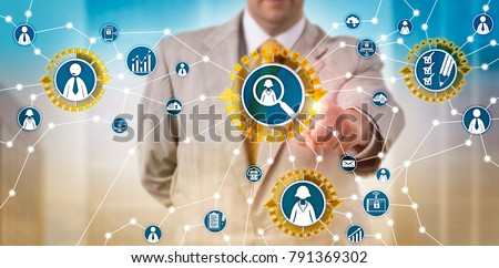 Unrecognizable male recruiter in conference call with prospect via app. Business and HR concept for recruitment information technology, talent acquisition, remote interview and performance review.