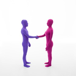 unrecognizable man dressed in purple shakes hands with faceless woman dressed in pink on white background