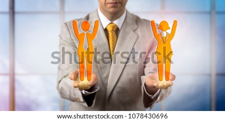 Unrecognizable mediator presenting one male and female cheering employee. Business concept for win win outcome, mediation, conflict resolution, collaborative strategy, partnership, gender equality. #1078430696