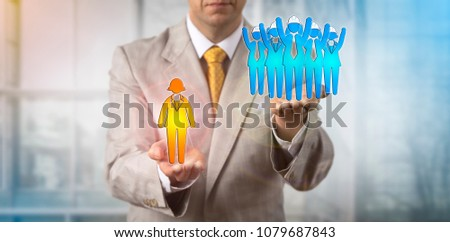Unrecognizable negotiator raising a group of five blue collar workers over a female white collar manager. Business concept for mediation, labor regulations, standards, rights, laws, strike, conflict.