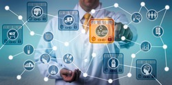 Unrecognizable pharmaceutical logistician using internet of things solution based on blockchain technology to secure data integrity of drug supply chain. Networking concept for distributed ledgers.