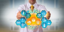 Unrecognizable pharmaceutical scientist protecting sensitive drug research data via encryption applications. Pharma data management and security metaphor for compliance, information security, BYOD.