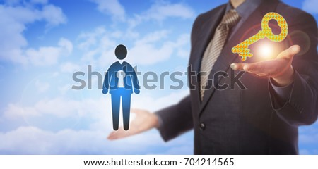 Unrecognizable recruitment agent is offering a virtual key made of question marks in one hand, while holding up a male employee icon enclosing a key hole in the other. Metaphor for unlocking talent.