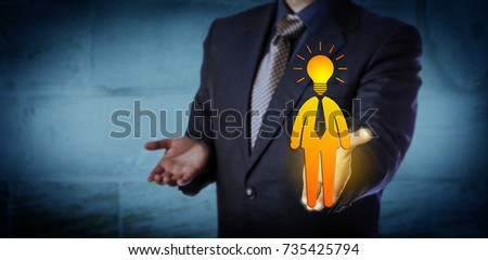 Unrecognizable recruitment agent offering a bright candidate icon with a light bulb for a head. Business concept for entrepreneurship, talent management, leadership, initiative and inspiration.