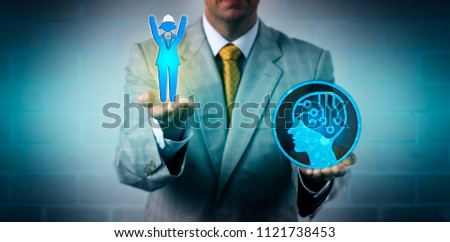 Unrecognizable recruitment agent raising one cheering female blue collar worker above an artificial intelligence app. Business technology concept for digital transformation, labor regulations.