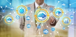Unrecognizable service provider activates cloud containers to respond to point-in-time demand. IT concept for microservices, containerization, service architecture, scalability, orchestration system.